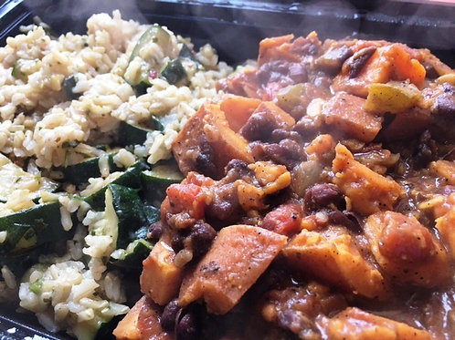 Sweet Potato and Black Bean Chili, Zucchini Brown Rice