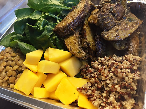 Power Bowl-Curry Portobello, Quinoa, Lentils, Spinach, Mango