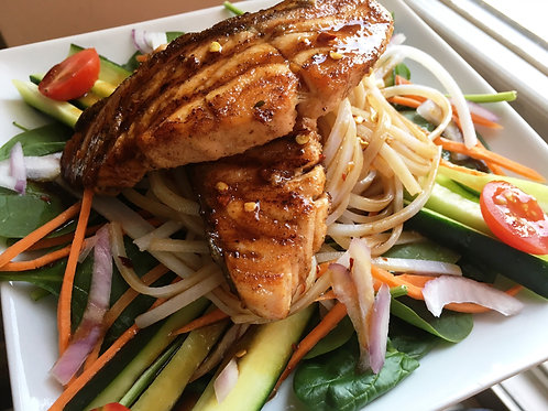 Grilled Salmon Rice Noodle Salad w/ Soy Sesame Dressing
