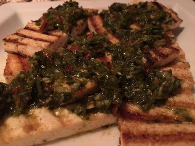 GRILLED TOFU, HERB RELISH