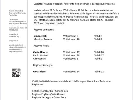 Risultati elezioni referenti Puglia, Lombardia e Sardegna