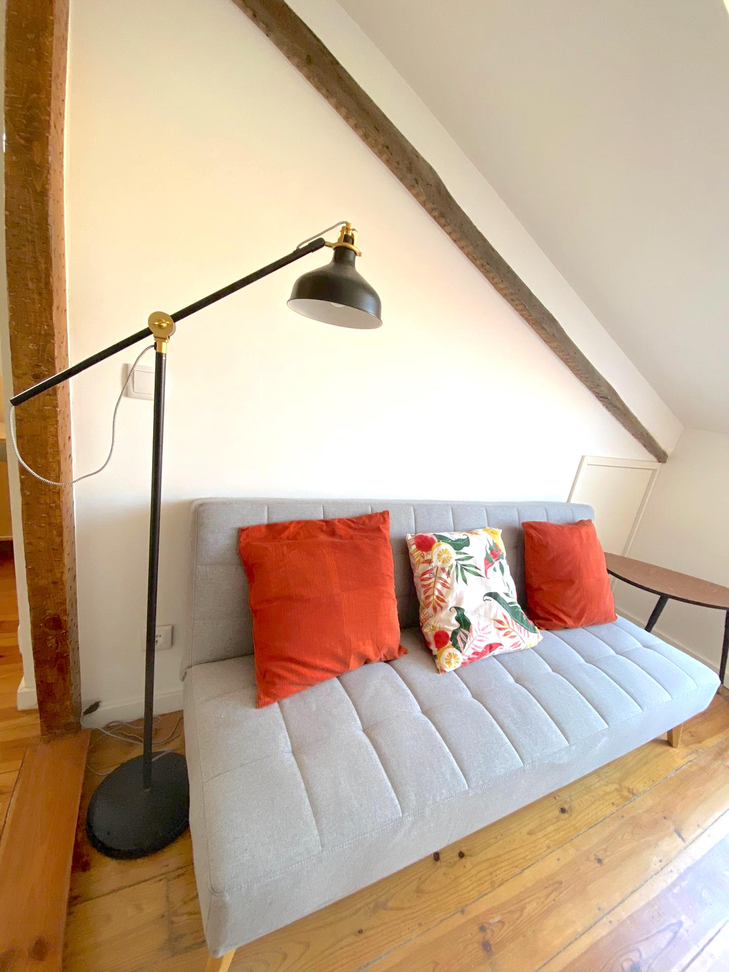 use couch and exposed beams