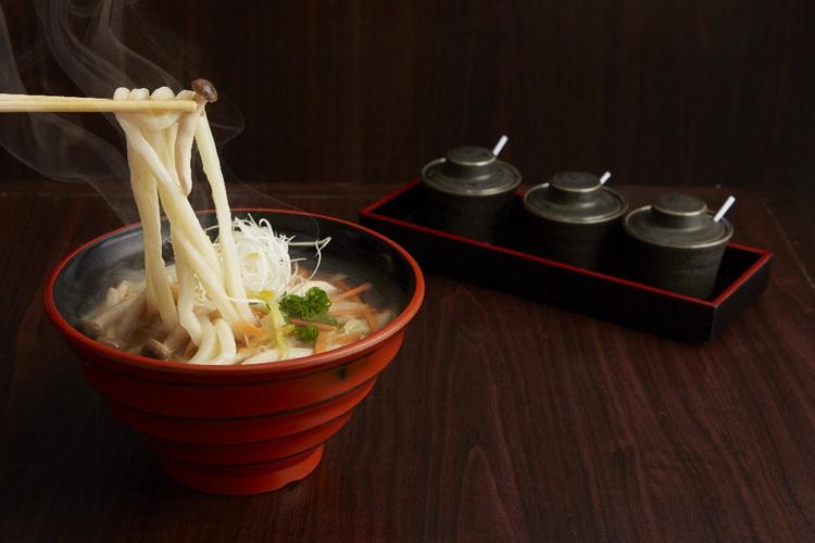 Chicken and mushroom Udon with Yuzu flav