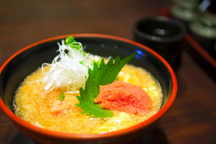 Udon with pollock roe and Onsen egg