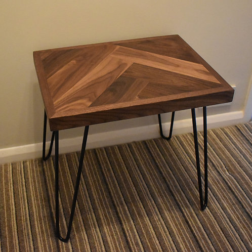 Walnut Herringbone Side Table / Bed-side Table