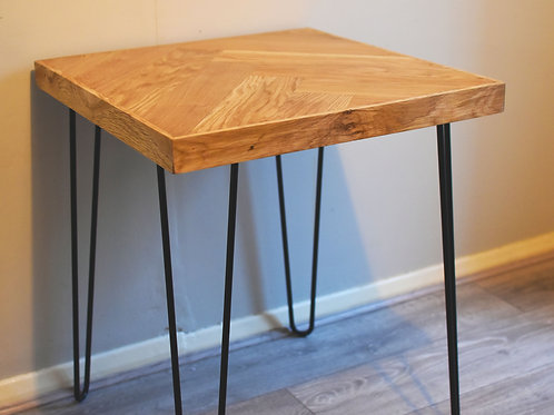 Oak Herringbone Side Table / Bed-side Table