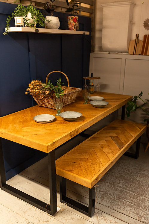 Oak Dining Herringbone Table & Bench