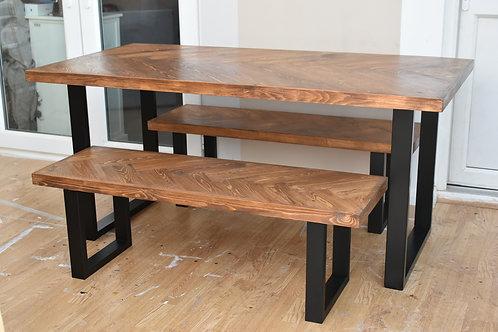 Pine Herringbone Dining Table