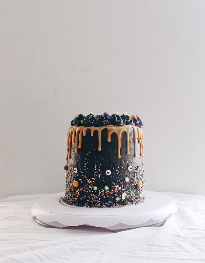 Peanut Butter Cake with Dark Chocolate Buttercream