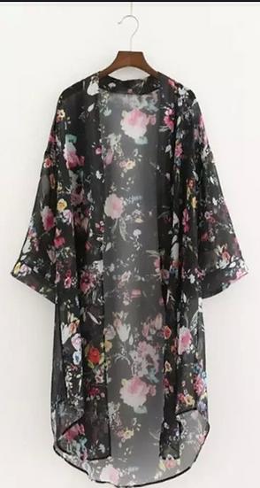 Flower Kimono - black