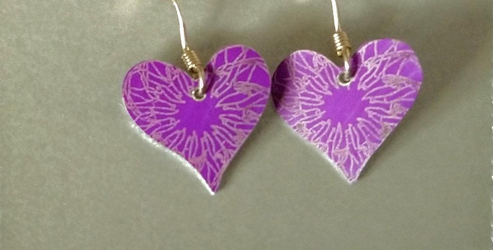 Botanicol- Coloured Aluminium Heart Drop Earrings- Purple