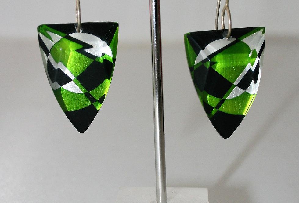 Rowena Park Acrylic Green Deco Triangular Earrings