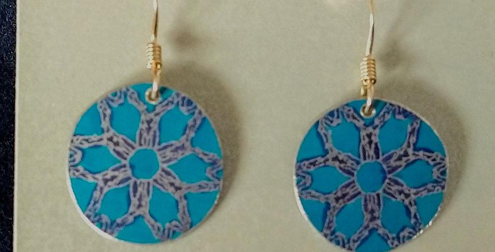 Botanicol- Coloured Aluminium Disc Drop Earrings- Blue