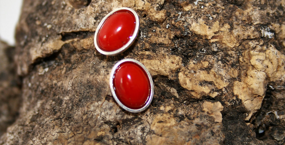 Helen West Red Bamboo Coral and Silver Oval Studs