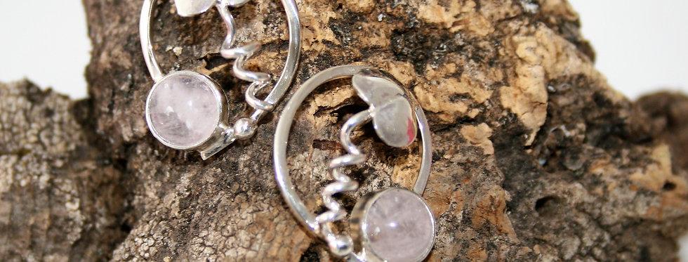 Helen West Rose Quartz and Silver Leaf Swirl Earrings