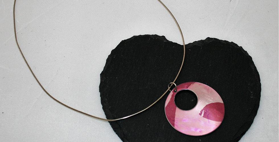 Miranda Peckitt Aluminium Pink Disc on Silver Wire