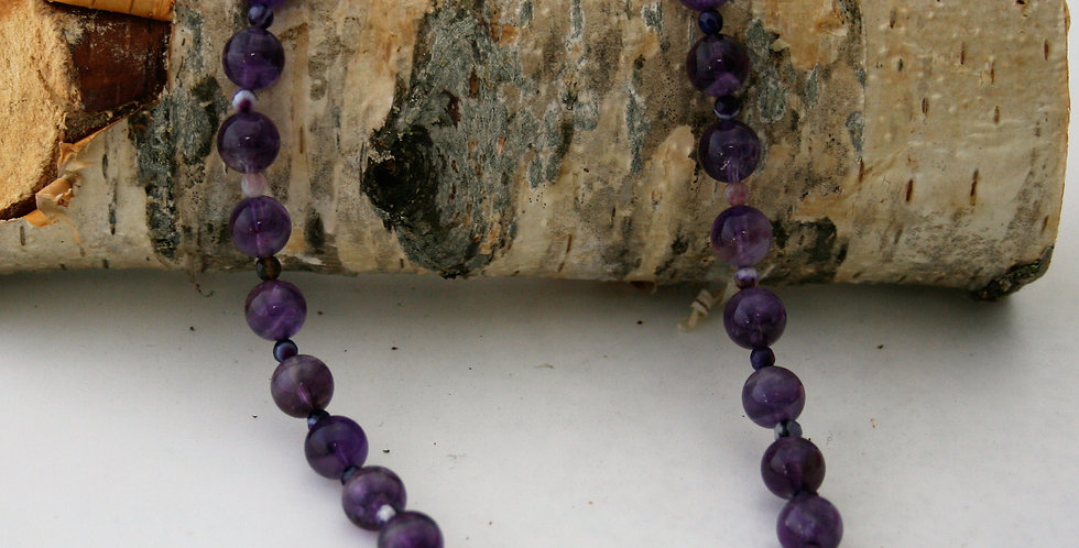 Helen West Beaded Amethyst and Banded Agate Necklace