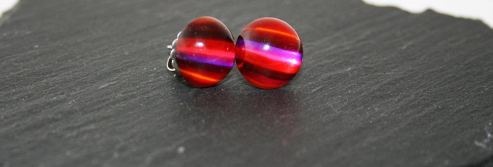 Rowena Park Acrylic Red Stripe Domed Stud Earrings
