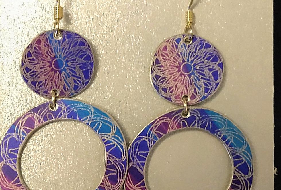 Botanicol- Coloured Aluminium Disc Drop Earrings, Blue and  Pink