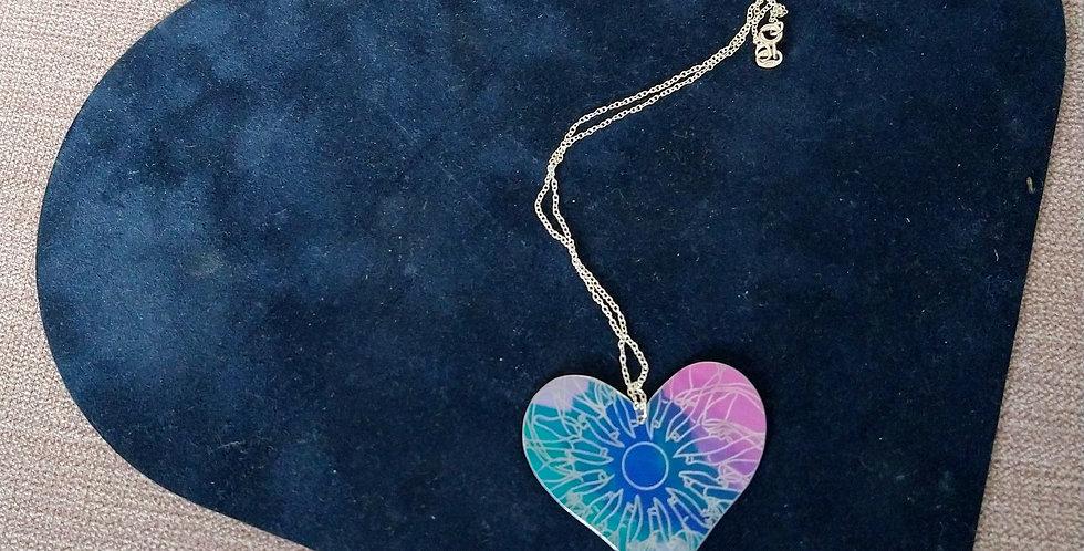 Botanicol- Coloured Aluminium Blue and Pink Heart Necklace, large