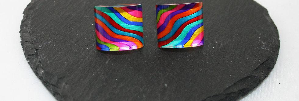 Rowena Park Acrylic Rectangular Wavy Ripples Stud Large