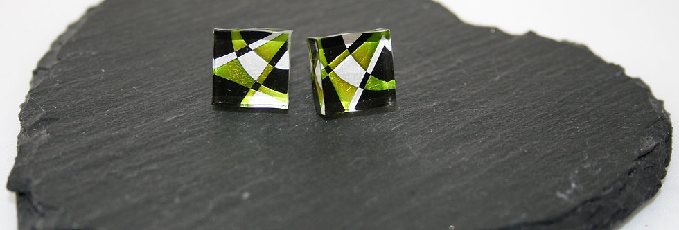 Rowena Park Acrylic Square Green Deco Stud Earrings