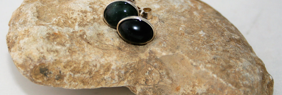 Helen West Jade and Silver Oval Studs