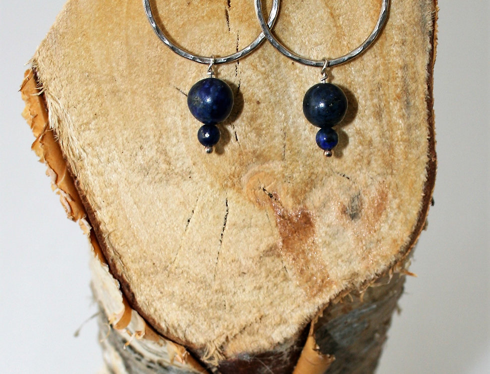 Zoe Ruth Silver and Blue Bead Earrings