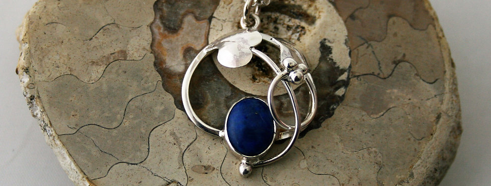 Helen West Lapis Lazuli and Silver Leaf Pendant