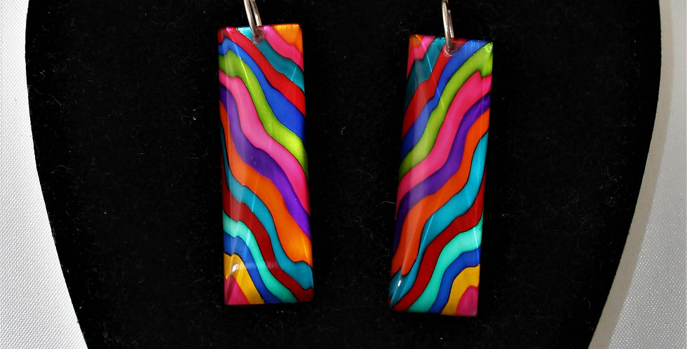 Rowena Park Acrylic Multi-colour Ripple Rectangular Earrings