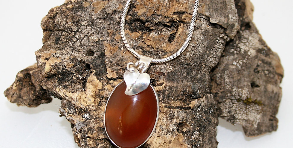 Helen West Carnelite and Silver Oval Pendant