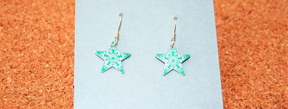 Botanicol- Coloured Aluminium Star Drop Earrings
