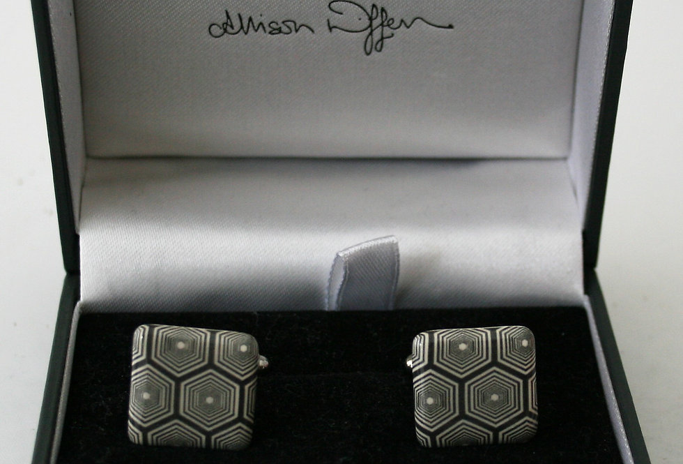 Alison Wiffen Ceramic Monochrome Hexagon Cufflinks