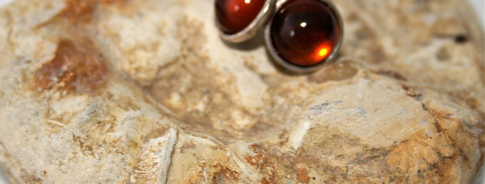 Helen West Amber and Silver Studs