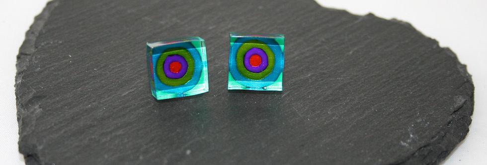 Rowena Park Acrylic Green Circle Small Square Stud Earrings