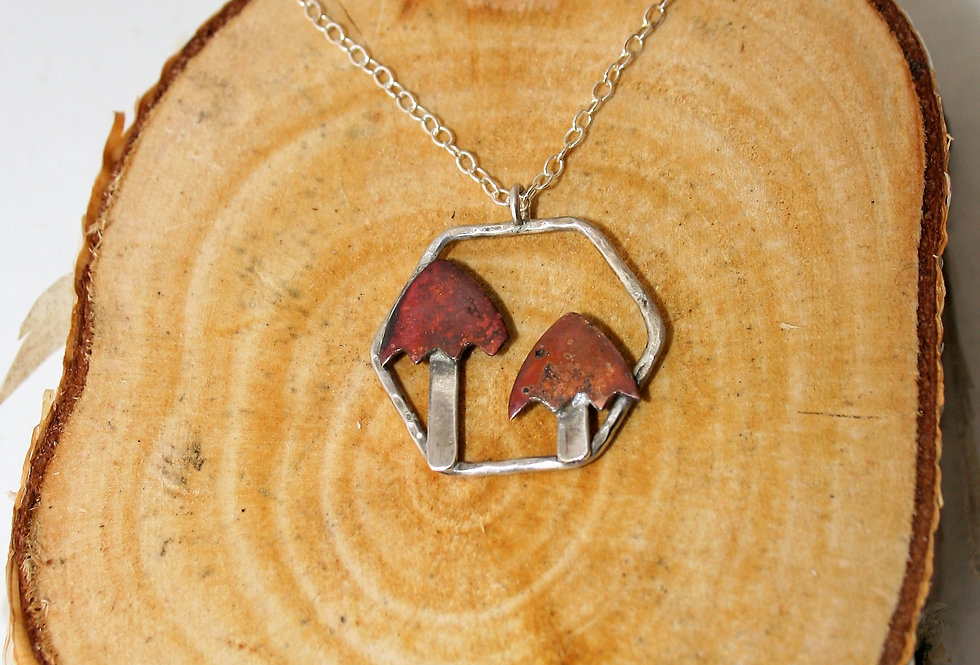 Zoe Ruth Silver and Copper Toadstool Necklace