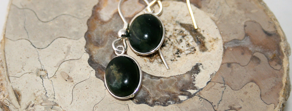 Helen West Green Agate and Silver Oval Drop Earrings- Small