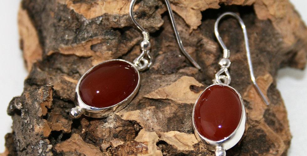 Helen West Carnelian and Silver Oval drop Earrings