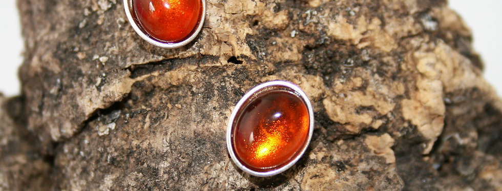 Helen West Amber and Silver Oval Studs