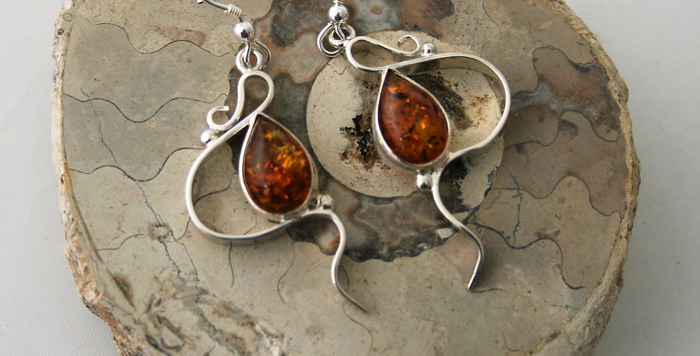 Helen West Amber and Silver Swirl Drop Earrings