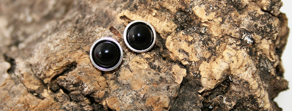 Helen West Onyx and Silver Studs