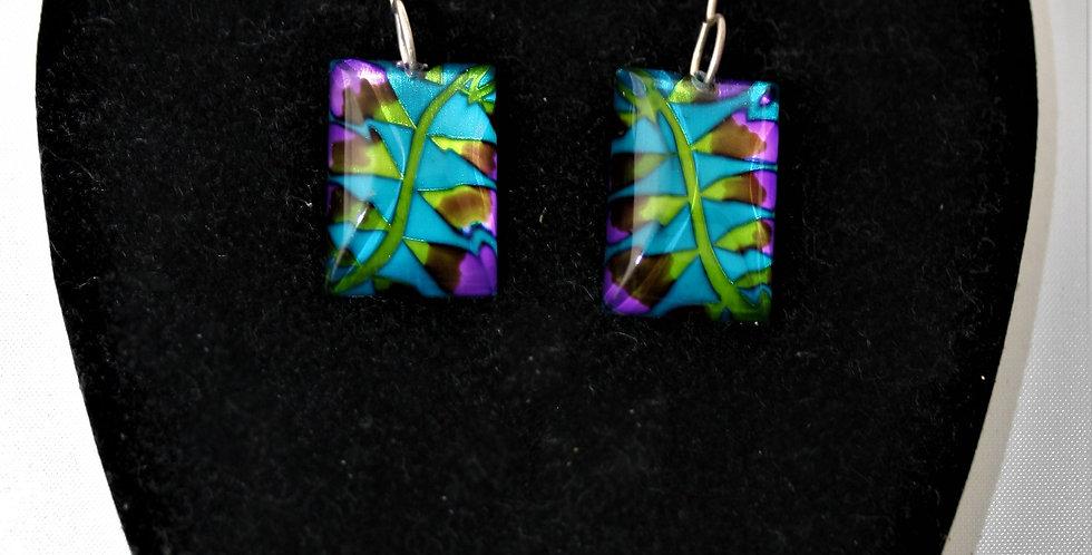 Rowena Park Acrylic Turquoise Leaf Fern Rectangular Earrings