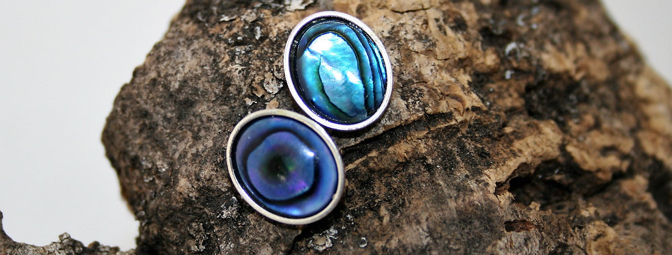 Helen West Abalone and Silver Oval Studs