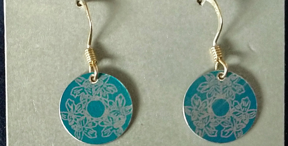 Botanicol- Coloured Aluminium Small Disc Drop Earrings- Blue