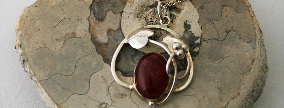 Helen West Dyed Red Agateand Silver Leaf Pendant