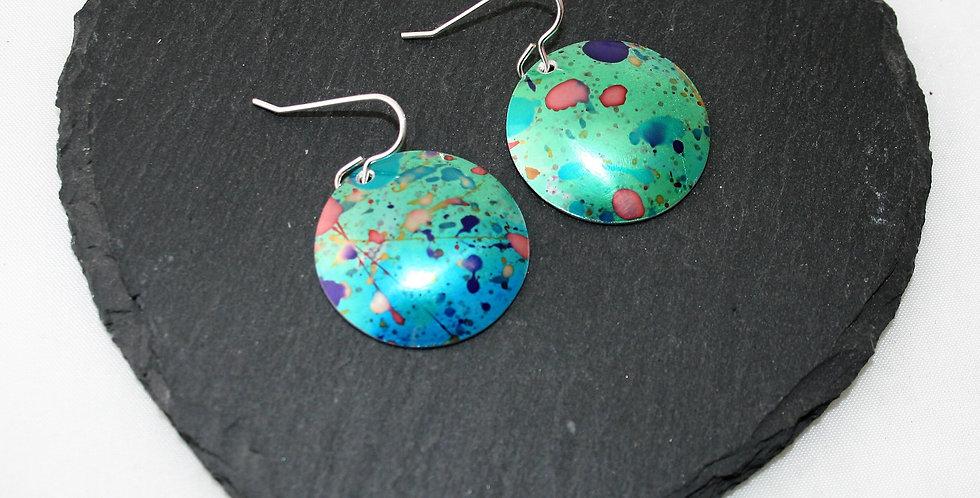Miranda Peckitt Green Splatter Aluminium Drop Earrings