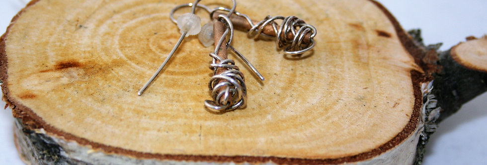 Anterlier Gilmar Rock N Roll Silver Wire and Rose Gold Earrings