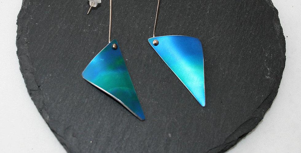 Miranda Peckitt Blue Aluminium Asymmetric TriangleDrop Earrings