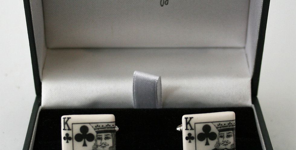 Alison Wiffen Ceramic King of Clubs Cufflinks