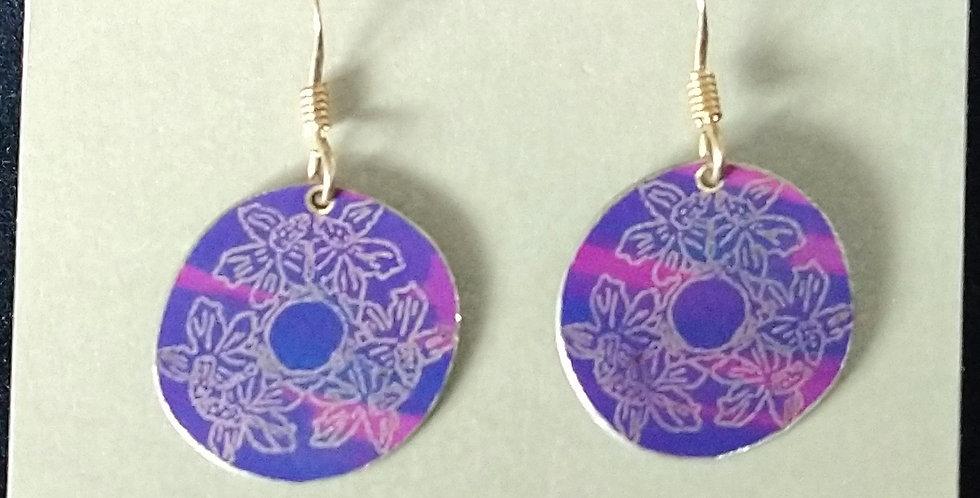 Botanicol- Coloured Aluminium Disc Drop Earrings- Purple and Pink